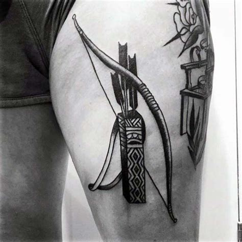 bow and arrow couple tattoo mens thigh leg bow and arrows archery tattoos tats