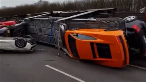 crashed red lamborghini major crash on french highway lambo ferrari mustang