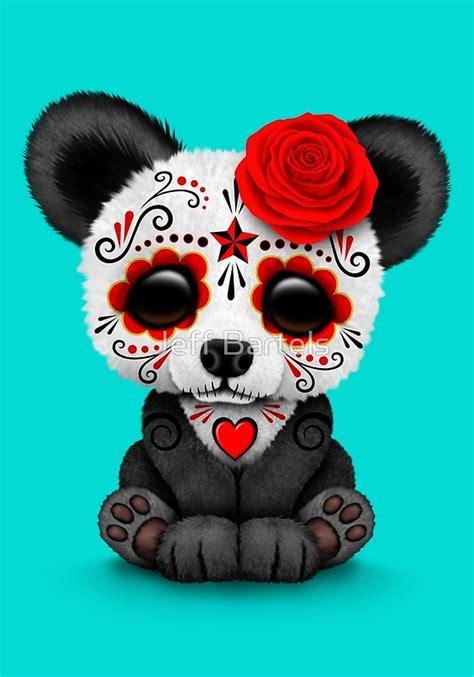 Sugar Skull Panda quot day of the dead sugar skull panda on blue quot prints