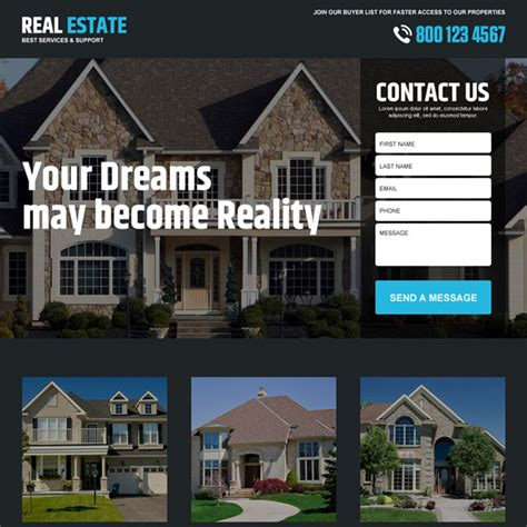 Landing Page Design The Best Real Estate Landing Pages by Real Estate Responsive Lead Capture Landing Page Designs