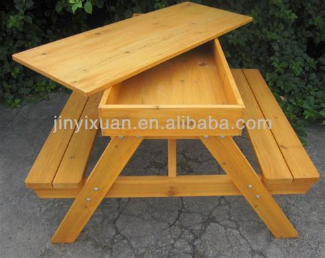 Wooden Picnic Table And Bench With Sandpit Outdoor Table