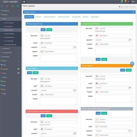 menu layout laravel josh laravel admin template front end crud by