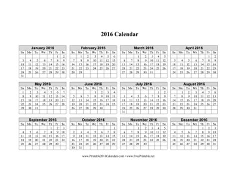 printable calendar 2016 single page printable 2016 calendar on one page horizontal grid