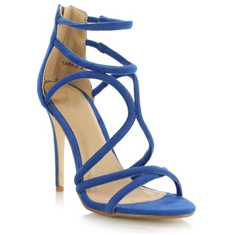 blue high sandals blue strappy open toe cut out stiletto high heels shoes
