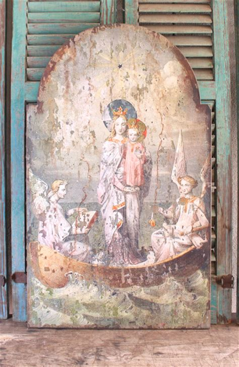 and baby jesus vintage style wood wall image