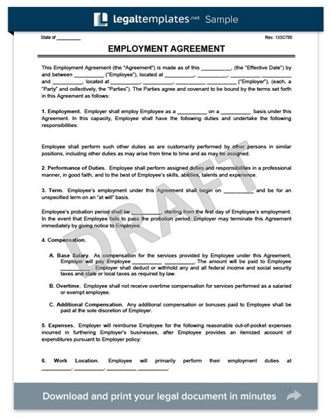 employment agreement free employment agreement template free