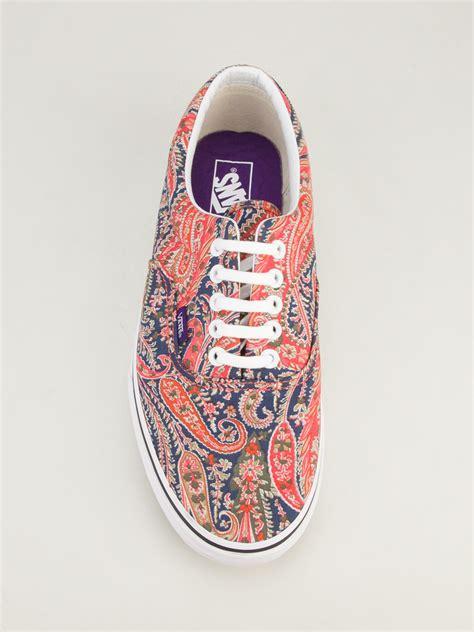 mens patterned vans vans era paisley patterned low top sneaker in red for men