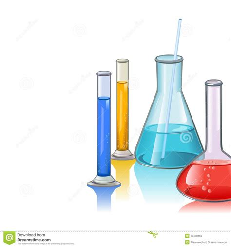 colored laboratory flasks glassware template stock vector