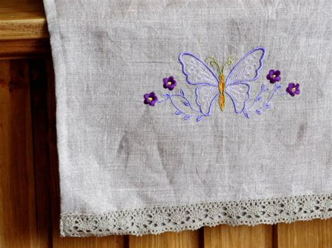 Handmade Tea Towels - linen towel embroidered with lace handmade tea