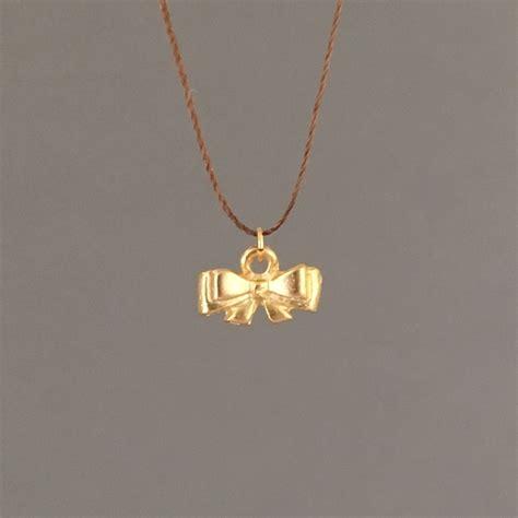 string jewelry tiny bow silk string necklace shon jewelry