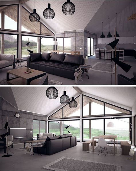 commercial interior windows open plan large windows vaulted ceiling living room