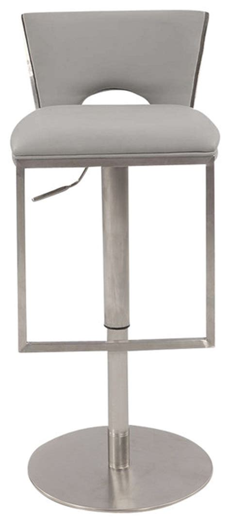 stainless steel bar stools with backs low back upholstered pneumatic gas lift stool in brushed