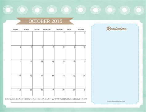 printable calendar october 2015 cute 6 best images of cute calendar 2015 printable october
