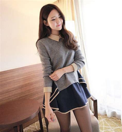 Sweatercwanita Korea Pop Sweater Grey dress collar sailor grey asian korean fashion ulzzang k pop sleeves