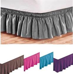 King Size Black Bed Skirt Elastic Bed Skirt Dust Ruffle Easy Fit Black King