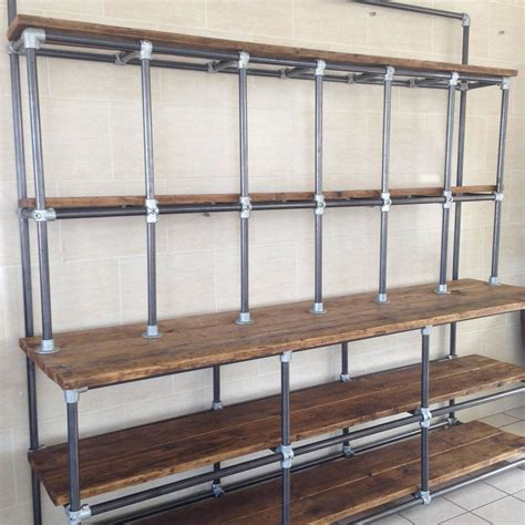 shabby chic industrial vintage industrial pipe and plank shelving shabby chic at