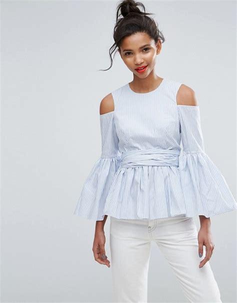 Premium Aufa Strpe Top asos asos premium cotton top with peplum and sleeve drama in stripe