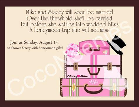 Honeymoon Bridal Shower Invitation Wording by Bridal Shower Invitations Honeymoon Themed Bridal Shower