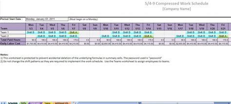 Compressed Work Week Template employee work schedule template printable