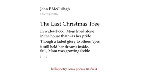 the last christmas tree by john f mccullagh hello poetry