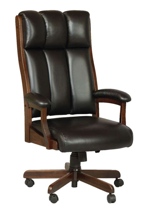 ohio state leather office chair clark executive chair in solid hardwood with gas lift and