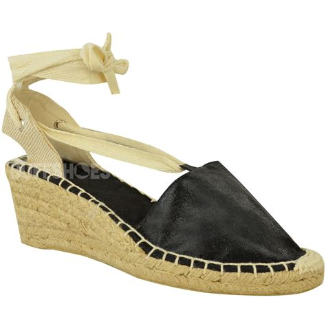 womens summer wedges low heel espadrilles lace up