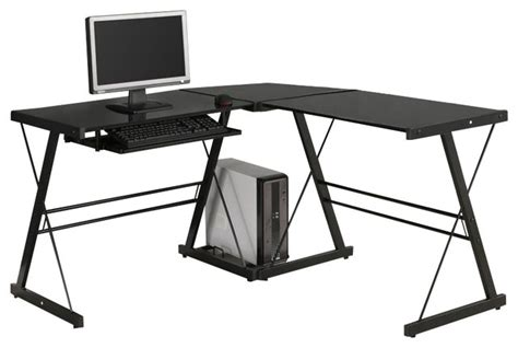 L Shaped Glass Top Computer Desk Walker Edison Soreno Corner L Shape Glass Top Computer Desk In Black Modern Desks And