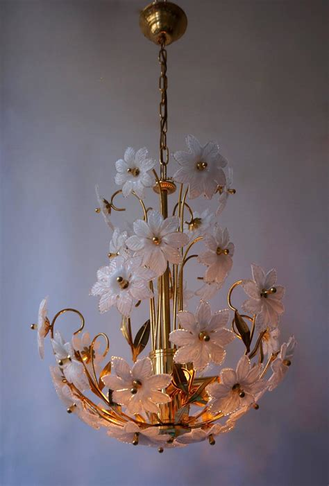 Glass Flower Chandelier Gilded Brass And Glass Flower Chandelier For Sale At 1stdibs