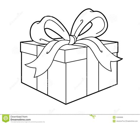 simple black line art drawing of a present or gift colors