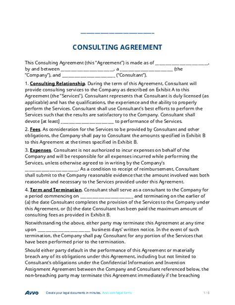 Sle Letter Of Agreement For Consulting Services Fill Out A Consulting Agreement Form For Free