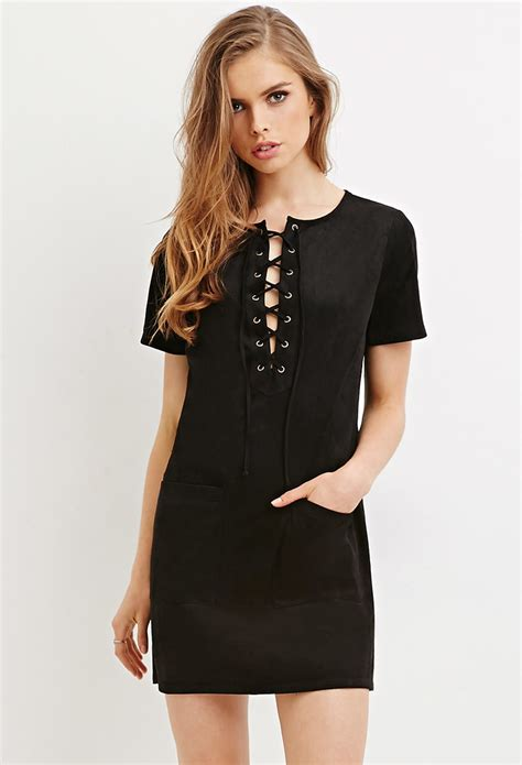Lace Up Dress forever 21 faux suede lace up dress in black lyst