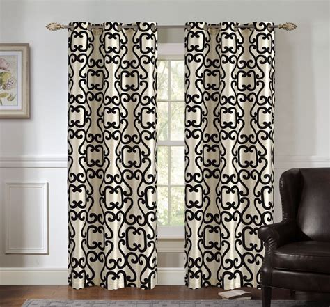 black and ivory curtains pair of ellie black ivory jacquard window curtain panels w
