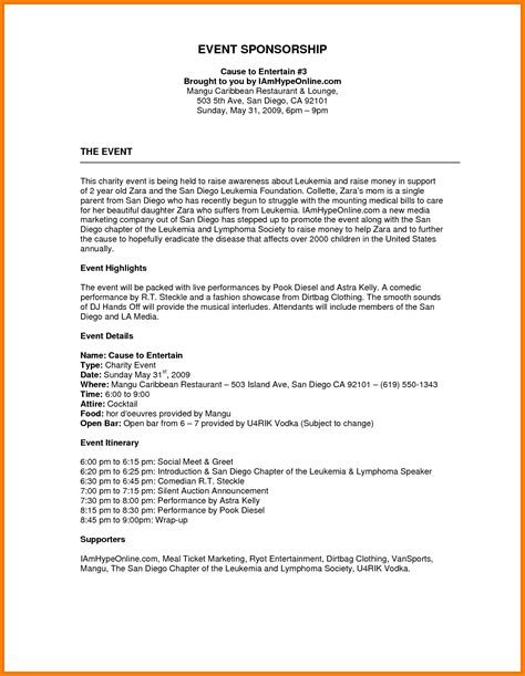 sponsorship package template free image result for sponsorship template