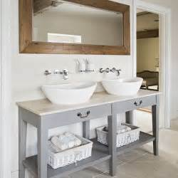 White Double Sink Bathroom Vanities Neutral Tiled Bathroom With Grey Vanity Unit Decorating