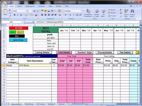 Mycost Tutorial Ebay Fee Profit Calculating Spreadsheet Youtube Ebay Selling Spreadsheet Template