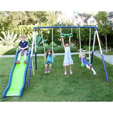 metal swing and slide set sportspower sierra vista metal swing and slide set swing
