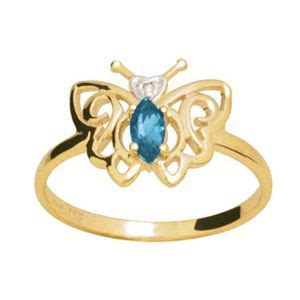 Swiss Blue Topaz 19 9ct Carat blue topaz and gold ring butterfly just