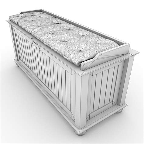 storage bench cushion storage bench with cushion 02 3d model max obj 3ds lwo