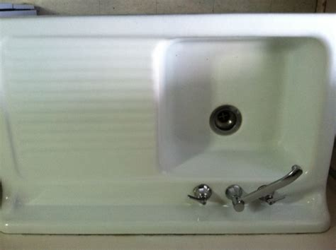 Antique Cast Iron Kitchen Sink With Drainboard Vintage 1955 Richmond Porcelain Cast Iron Sink With Drainboard And Cabinet