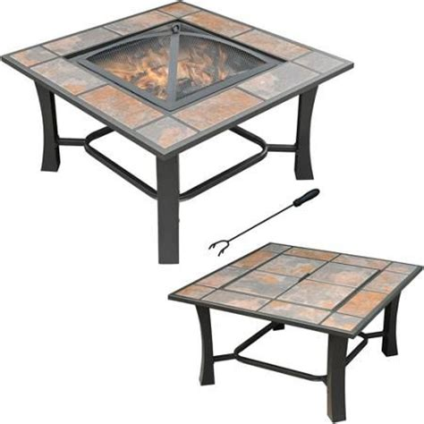 Axxonn 2 In 1 Malaga Square Tile Top Fire Pit Coffee Table Coffee Table With Pit
