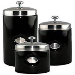 Black Kitchen Canister Set Amazon Com Black Contempo Canisters Set Of 3 Kitchen