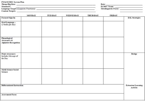weekly lesson plan template preschool 7 preschool lesson template free word excel pdf formats