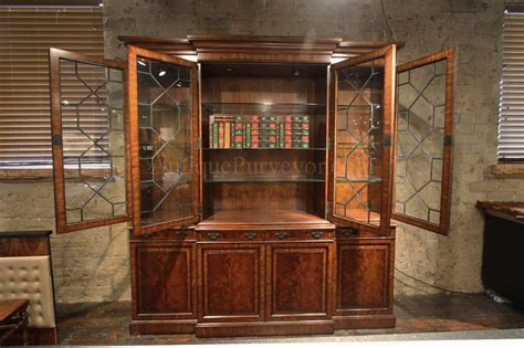 china cabinet with lights traditional george iii mahogany china cabinet bookcase replica