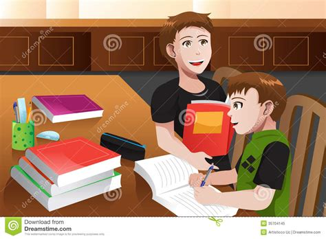 Home Design Elements Llc Father Helping His Son Doing Homework Royalty Free Stock