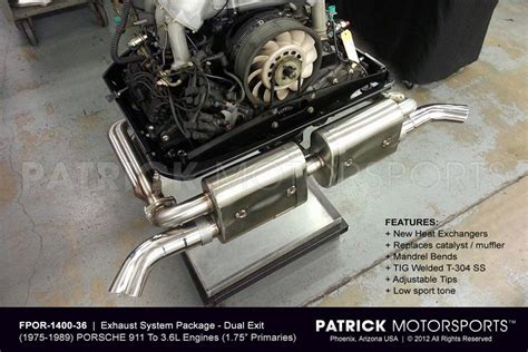911 exhaust system package 3 6l to 1975 1989 porsche