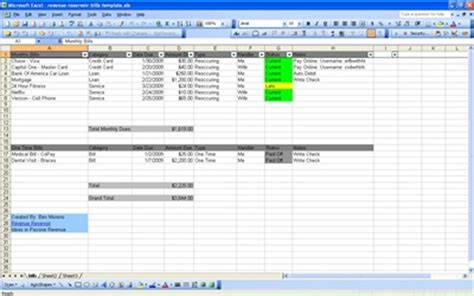 Bill Organizer Spreadsheet by Excel Monthly Expenses Spreadsheet Free Monthly Budget