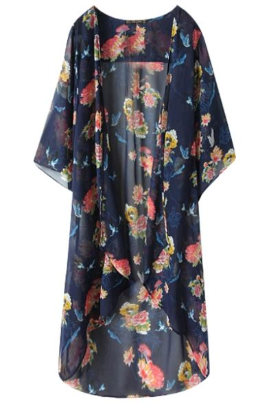 De Kimono Flower 3 4 sleeve blue background flower print chiffon longline kimono beautifulhalo