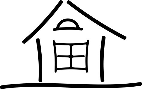clipart simple house line art