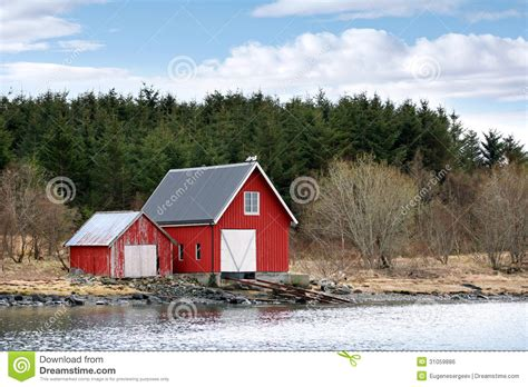 Coastal House Plans traditional norwegian red wooden barns royalty free stock