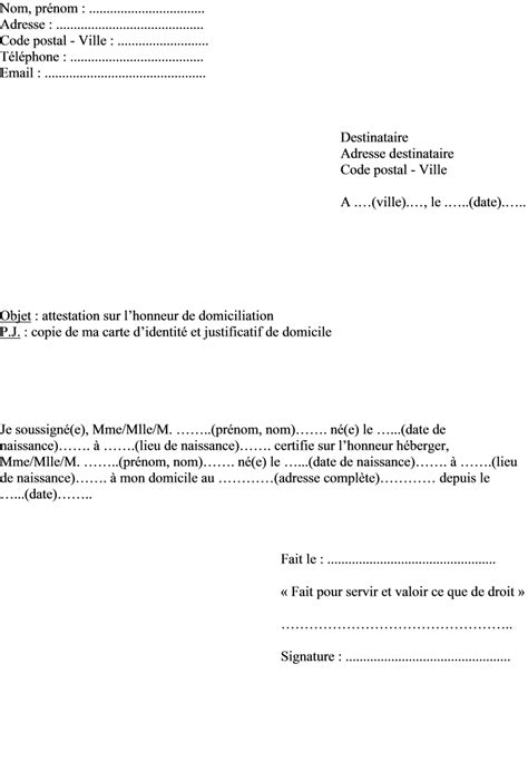 Modèle Attestation Sur L Honneur Hébergement mod 232 le attestation sur l honneur d h 233 bergement 224